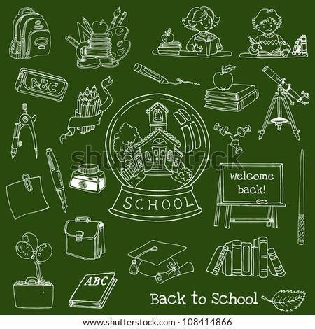 Back to School Doodles - Hand-Drawn Vector Illustration Design Elements (part 2) - stock vector