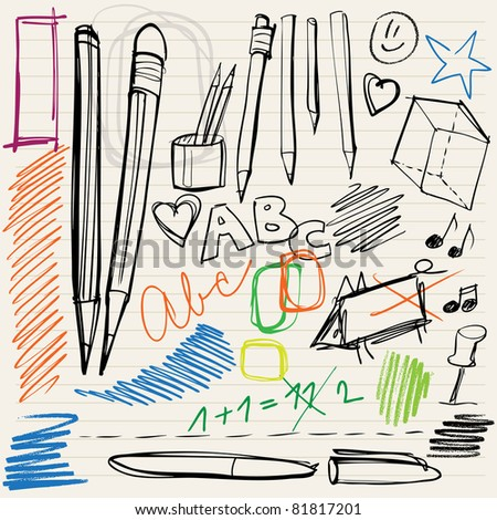 back to school doodles - pencils, pens and scribblings - stock vector