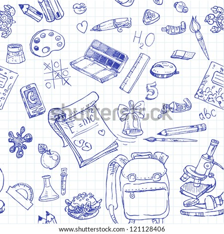 Back to School doodles seamless background - stock vector