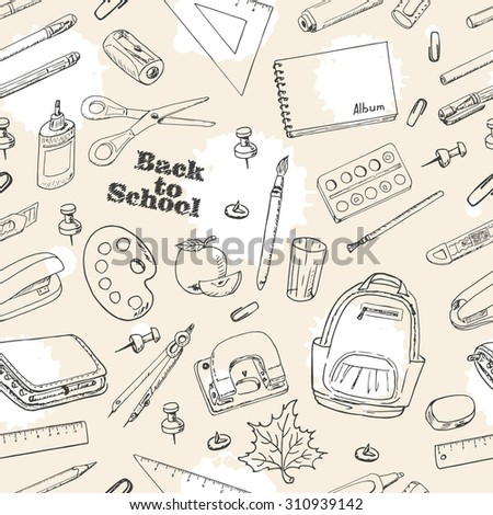 Back to School doodles seamless pattern. Vector illustration for your design