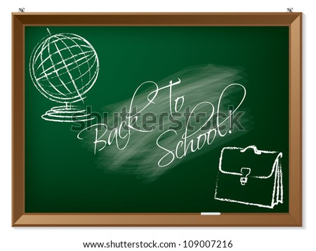 Back to school drawing on chalkboard - stock vector