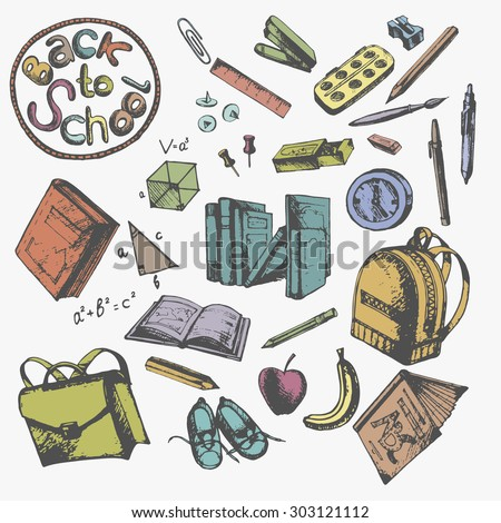 Back to School drawings by hand with a pencil.The subjects belonging to the pupil. Drawing in vintage shades. - stock vector