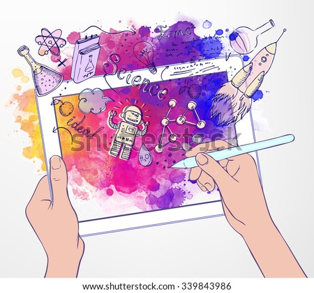 Back to School: e-learning technology concept with tablet looking like ipade with science lab objects sketchy composition, vector illustration isolated on white.  - stock vector