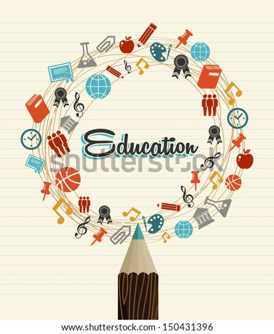 Back to School education global icons pencil over paper sheet background. Vector layered for easy editing. - stock vector