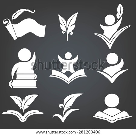 back to school education signs, symbols and logo on black background - stock vector