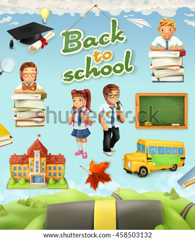 Back to school. Education vector icon set. Funny cartoon characters and objects on background - stock vector