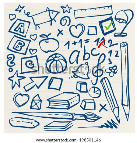back to school elementary doodles objects simple hand drawn freehand ink line - stock vector