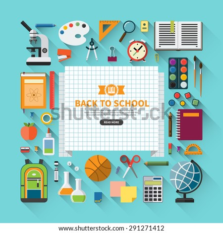 Back to school flat design modern vector illustration background with education icon set. School supplies : schoolbook, notebook, pen, pencil, paints, stationary, training aids, ball, school bag etc. - stock vector