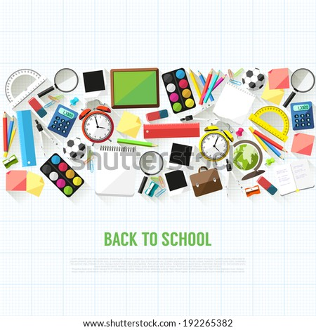 Back to school flat style background created from school supplies - stock vector