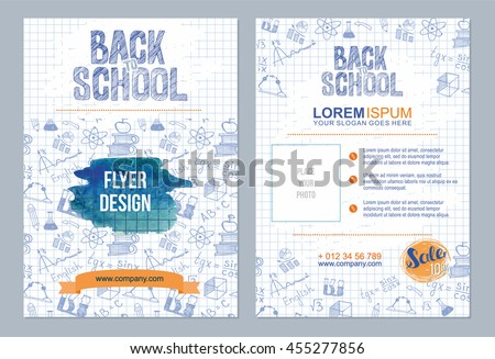 Back to school flyer template with  different school objects. school sale  banners set with orange and blue watercolor splashes - stock vector