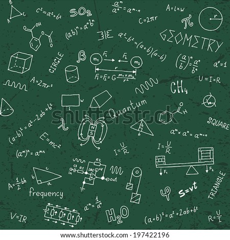 Back to school formulas. Seamless pattern. Hand drawn vector illustration.