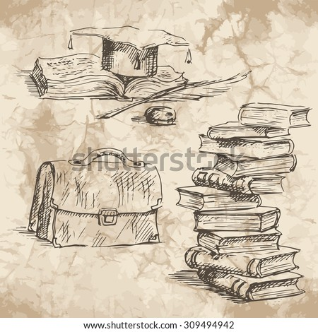 Back to School. Freehand drawing school elements on the old paper background. Schoolbooks and notebooks. Learning lessons. Vector illustration. - stock vector