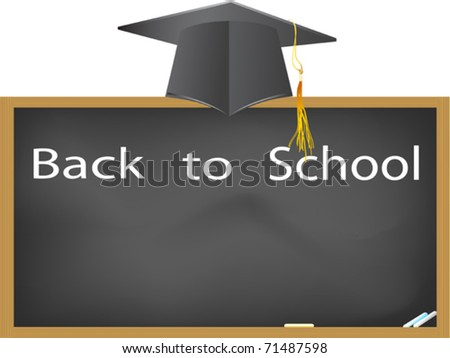 back to school- graduation cap hanging above the blackboard