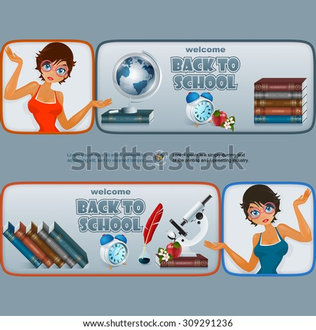 Back to school, graphic, design web banner/header; Set of banners with cartoon girl character and primary subject matter, school books, Earth globe, microscope alarm clock, apple and flowers  - stock vector