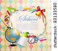 Back to school greeting card with stationery. Vector illustration. Check my portfolio for raster version. - stock photo