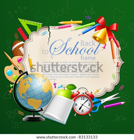 Back to school greeting card with stationery. Vector illustration. Check my portfolio for raster version. - stock vector