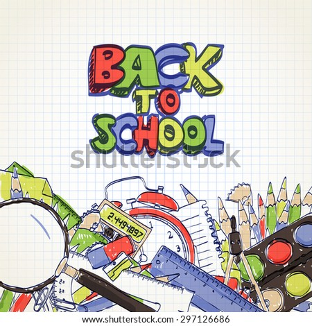 Back To School hand drawn background  - stock vector