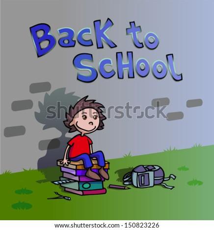 Back to school. Happy boy waiting.  - stock vector