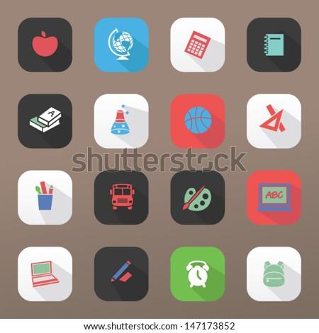 Back to school - icon set - stock vector