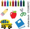 back to school icon set (vectors) - stock photo