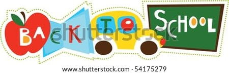 Back to school illustration collage - stock vector