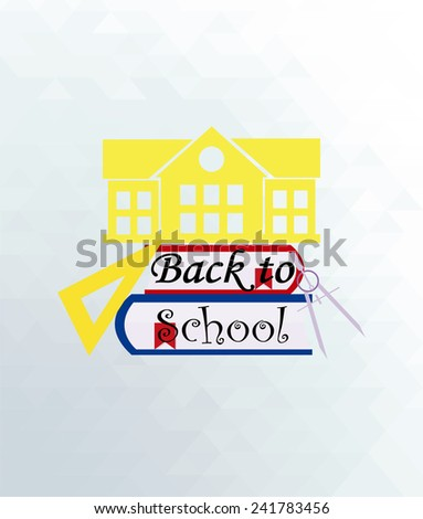 back to school illustration,  facade of the college on books over blue color background - stock vector