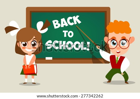 Back to school.  illustration of school kid. Vector Illustration of Small Kids. Children near a school board. The inscription in chalk. Cartoon characters. - stock vector