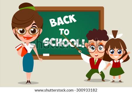 Back to school.  illustration of school kid. Vector Illustration of Small Kids. Children near a school board. The inscription in chalk. Cartoon characters. - stock vector