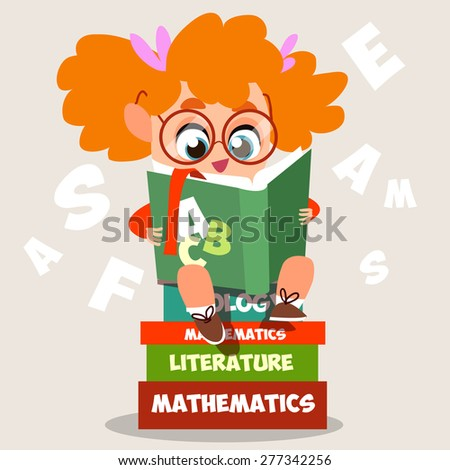back to school.  illustration of school kid. Vector Illustration of small Kids. Children study. Cartoon characters  of the school. Girl of the textbook on a pile of books. Learning the alphabet. - stock vector