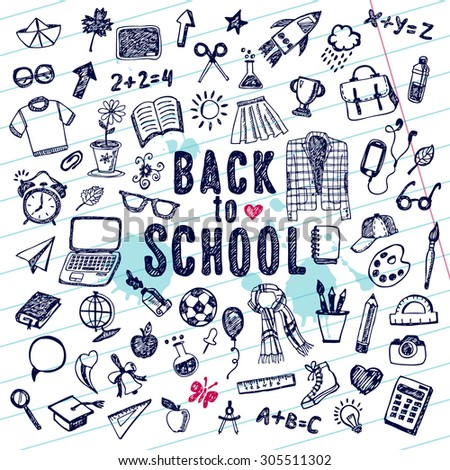 Back to school illustration. Sketch set. - stock vector