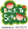 Back to school illustration with happy kids - stock vector