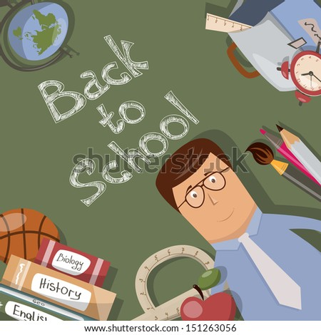 Back to school illustration with text on chalkboard - stock vector