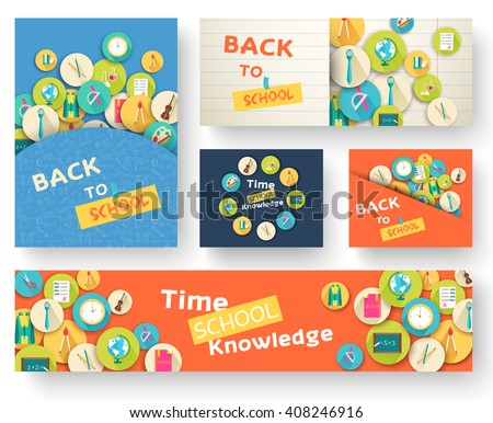 Back to school information pages set. Education template of flyear, magazines, posters, book cover, banner. Exam infographic concept background. Layout illustration template pages with typography text - stock vector