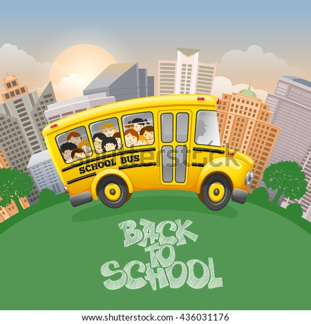Back to school inscription by chalk and cute cartoon school bus with cheerful pupils. Modern city on background. Hand drawn lettering. Back to school concept. Vector illustration.  - stock vector