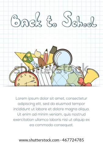 Back school invitation card can be stock vector 467724785 shutterstock back to school invitation card can be used for holiday cards shop invitation postcard stopboris Choice Image