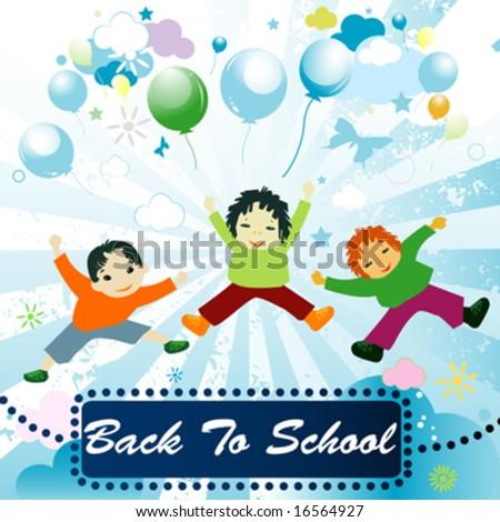 back to school;  joyful design with children playing - stock vector