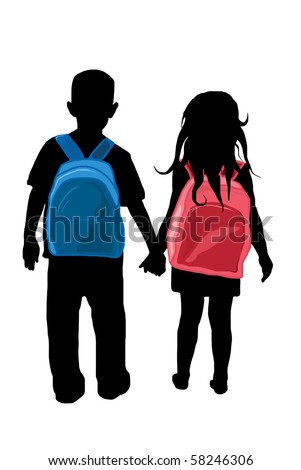 back to school kids silhouette - stock vector