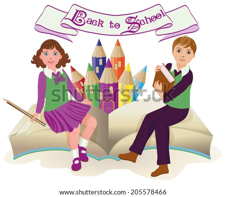 Back to School   Little school girl and boy with old book, vector illustration - stock vector