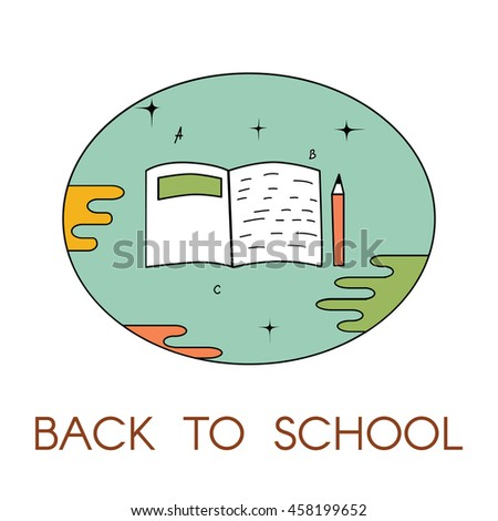 Back to school logo with notebook and pencil. Vector illustration. For logo, web, print. - stock vector