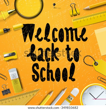 Back to School marketing background, vector illustration for greeting card, ad, promotion, poster, flier, blog, article, social media. - stock vector