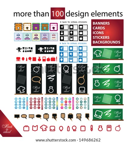 Back to school more than 100 design elements vector - banners, cards, icons, stickers, backgrounds, buttons - stock vector