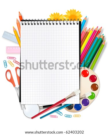 Back to school. Notepad with school supplies. Vector. - stock vector
