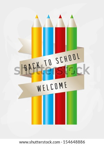 back to school over gray background vector illustration