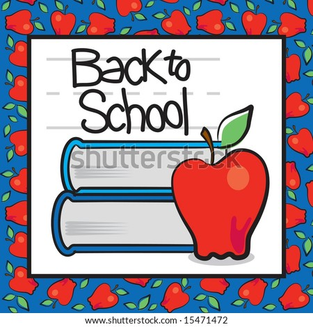 Back to school page with apple, books, and chalkboard style text and apple wallpaper background