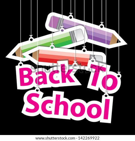 Back to School Paper Hanging Sign with Pencil paper hanging sign on black background. - stock vector