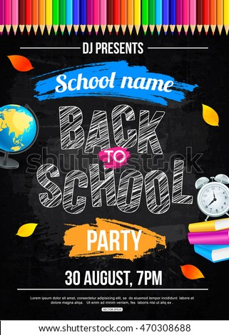 back school party poster templateのベクター画像素材 470308688