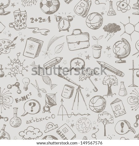 Back to school - pen sketch seamless background. Can be used for wallpaper, pattern fills, textile, web page background, surface textures. Vector illustration.