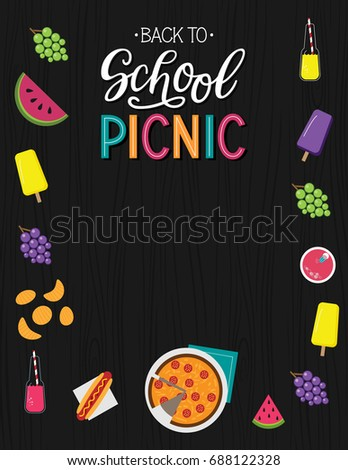 Back school picnic announcement template wood stock vector royalty back to school picnic announcement template wood background party invitation vector stopboris Choice Image
