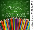 Back to school poster, vector colorful crayons on white paper with abstract doodles - stock vector