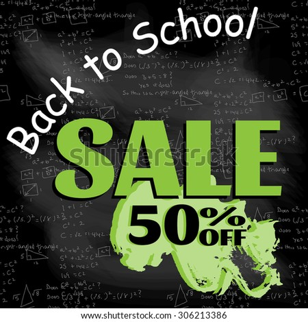 Back to School Sale Mathematical formulas vector background pattern. Handwriting on chalk board.  - stock vector